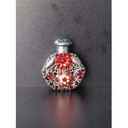 Perfume bottle- red, silver