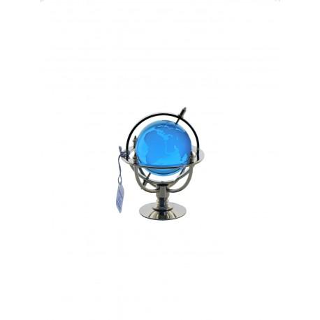 Marine globe 5 cm silver plated- aqua