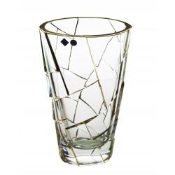 Skleněná dekorační váza Crack- zlato