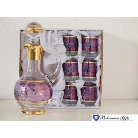 Listrované skleničky 6 ks + karafa